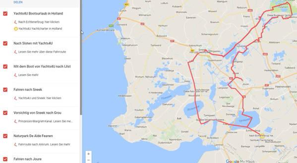 Fahrtrouten für Bootsurlaub in Friesland, Groningen und Overijssel ...